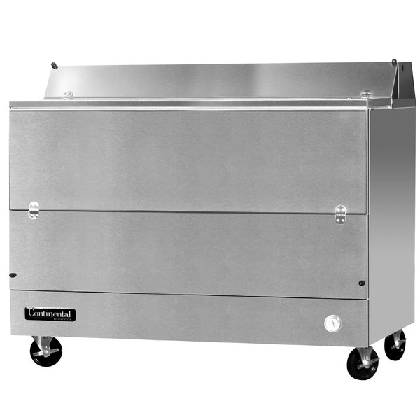 "Continental Refrigerator MC5-SS-S 58"" Stainless Steel 1 Sided Forced Air Milk Cooler - 24 cu. ft."