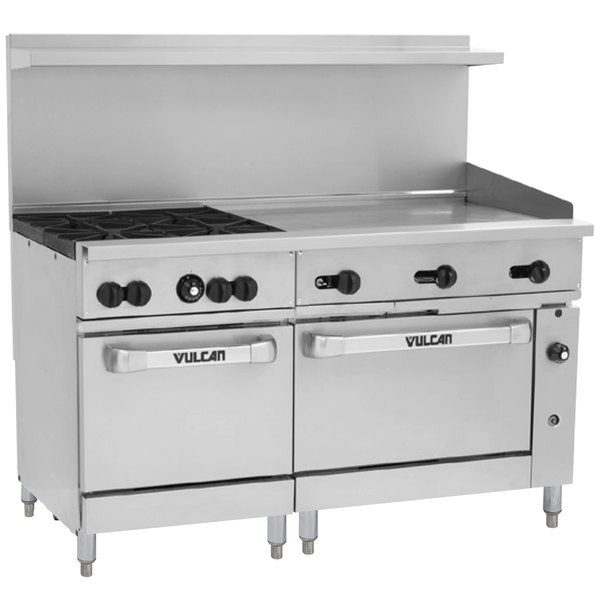 "Vulcan 60SS-4B36GN Endurance Natural Gas 4 Burner 60"" Range with 36"" Manual Griddle and 2 Standard Ovens - 238,000 BTU"