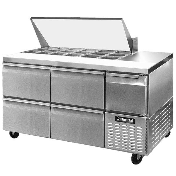 "Continental Refrigerator CRA68-18M-D 68"" 4 Drawer 1 Half Door Mighty Top Refrigerated Sandwich Prep Table"
