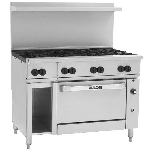 "Vulcan 48S-8BN Endurance Natural Gas 8 Burner 48"" Range with Standard Oven and 12"" Cabinet Base - 275,000 BTU"