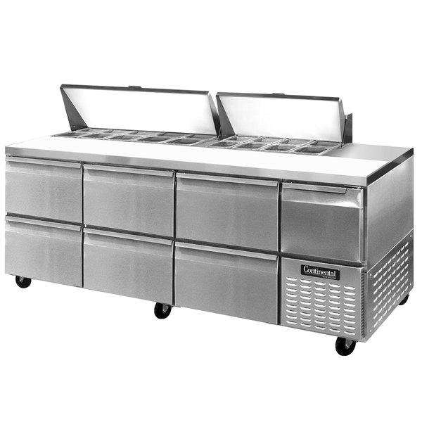 "Continental Refrigerator CRA93-18-D 93"" 6 Drawer 1 Half Door Refrigerated Sandwich Prep Table"
