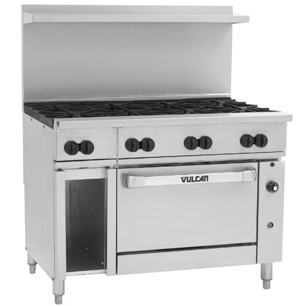 "Vulcan 48C-8BP Endurance Liquid Propane 8 Burner 48"" Range with Convection Oven and 12"" Cabinet Base - 275,000 BTU"