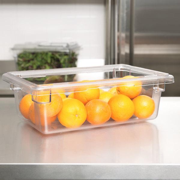"Cambro 12186CW135 Camwear 18"" x 12"" x 6"" Clear Polycarbonate Food Storage Box Main Image 3"