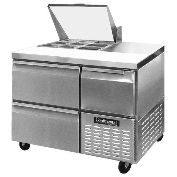 "Continental Refrigerator CRA43-9M-D 43"" 2 Drawer 1 Half Door Mighty Top Refrigerated Sandwich Prep Table"