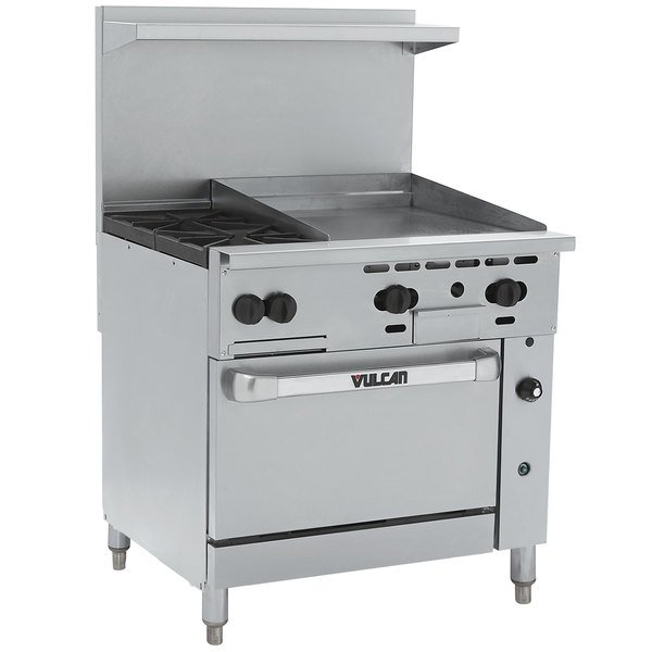 "Vulcan 36C-2B24GN Endurance Natural Gas 2 Burner 36"" Range with 24"" Manual Griddle and Convection Oven Base - 135,000 BTU"