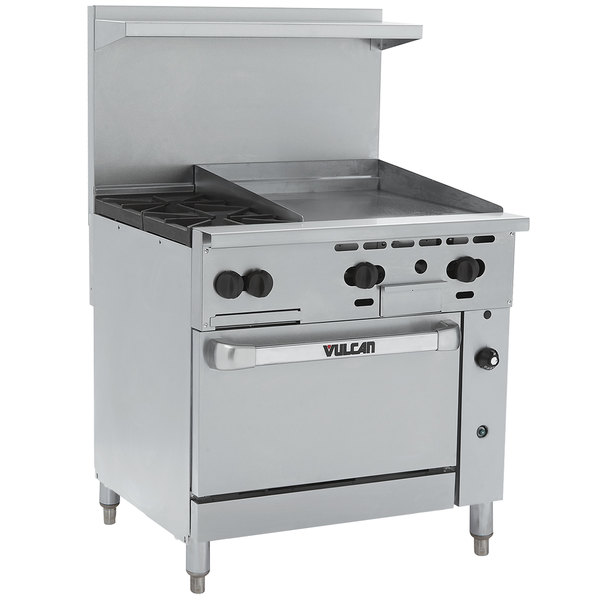 """Vulcan 36C-2B24GTP Endurance Liquid Propane 2 Burner 36"""" Range with 24"""" Thermostatic Griddle and Convection Oven Base - 135,000 BTU"""