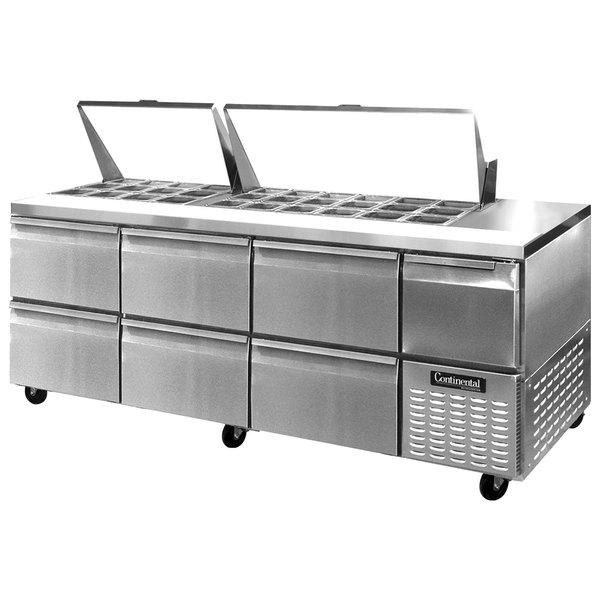 "Continental Refrigerator CRA93-30M-D 93"" 6 Drawer 1 Half Door Mighty Top Refrigerated Sandwich Prep Table"