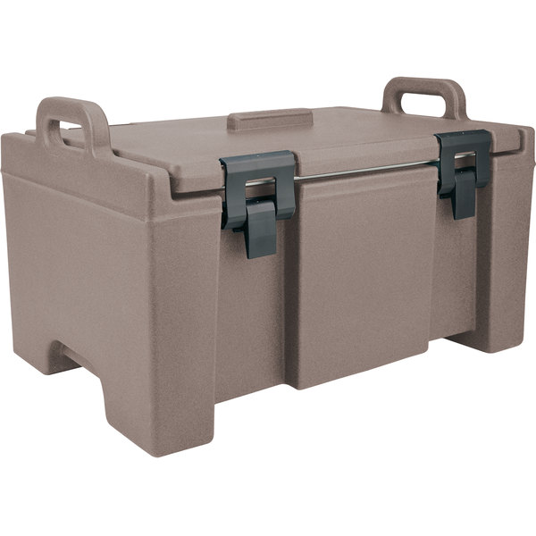 """Cambro UPC100194 Granite Sand Camcarrier Ultra Pan Carrier with Handles - Top Load for 12"""" x 20"""" Food Pans"""