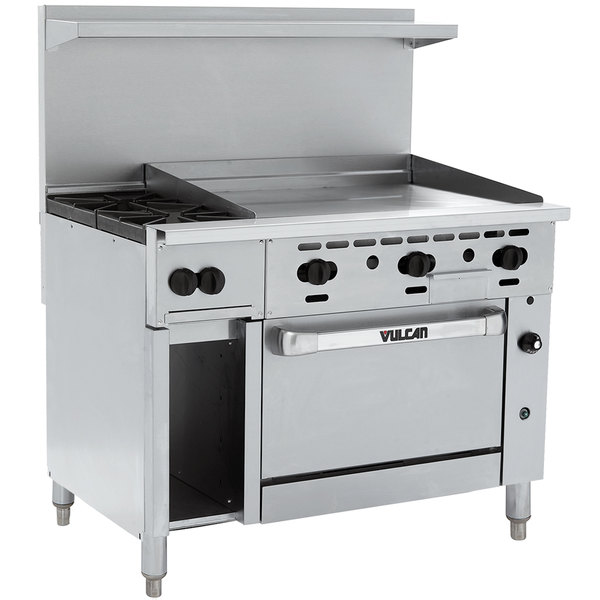"""Vulcan 48C-2B36GTN Endurance Natural Gas 2 Burner 48"""" Range with 36"""" Thermostatic Griddle, Convection Oven, and 12"""" Cabinet Base - 155,000 BTU"""