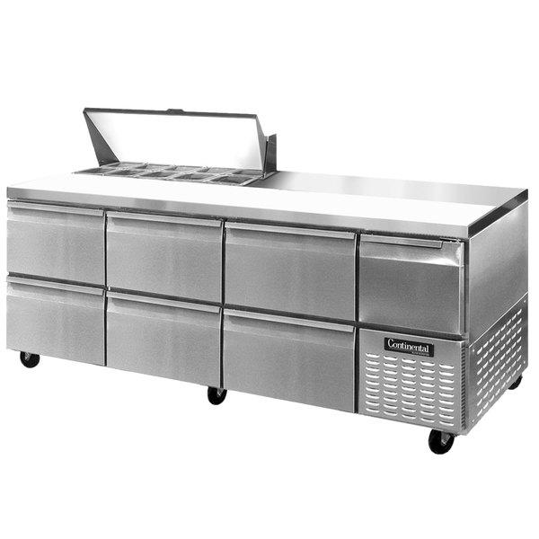 "Continental Refrigerator CRA93-10-D 93"" 6 Drawer 1 Half Door Refrigerated Sandwich Prep Table"