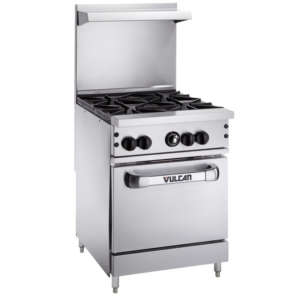 "Vulcan 24S-4BP Endurance Liquid Propane 4 Burner 24"" Range with Standard Oven Base - 143,000 BTU"