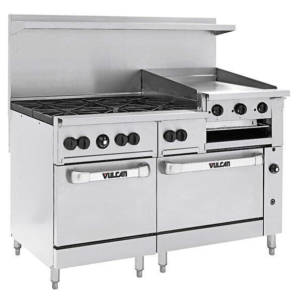 """Vulcan 60SC-6B24GBN Endurance Natural Gas 6 Burner 60"""" Range with 24"""" Griddle/Broiler, 1 Standard, and 1 Convection Oven - 268,000 BTU Main Image 1"""
