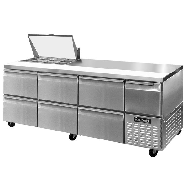 "Continental Refrigerator CRA93-12M-D 93"" 6 Drawer 1 Half Door Mighty Top Refrigerated Sandwich Prep Table"
