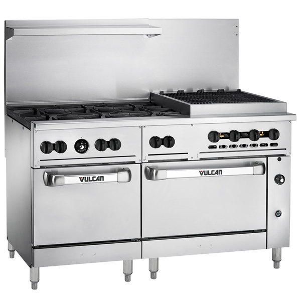 "Vulcan 60SC-6B24CBP Endurance Liquid Propane 6 Burner 60"" Range with 24"" Charbroiler, 1 Standard, and 1 Convection Oven - 302,000 BTU"
