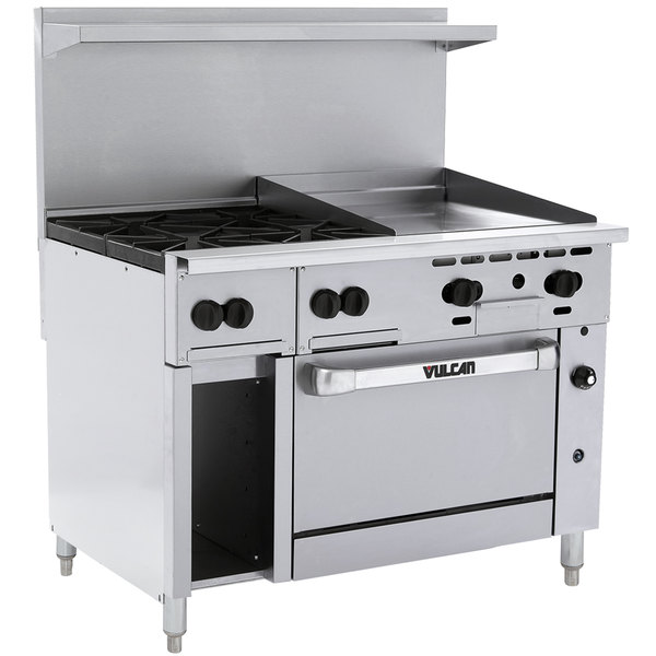 "Vulcan 48C-4B24GTN Endurance Natural Gas 4 Burner 48"" Range with 24"" Thermostatic Griddle, Convection Oven, and 12"" Cabinet Base - 195,000 BTU"
