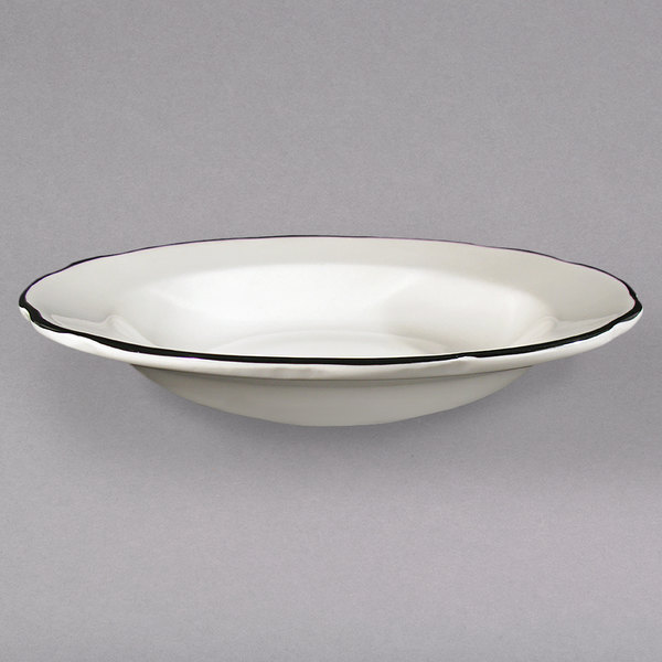 CAC SC-3B Seville 10 oz. Ivory (American White) Scalloped Edge China Soup Bowl with Black Band - 24/Case