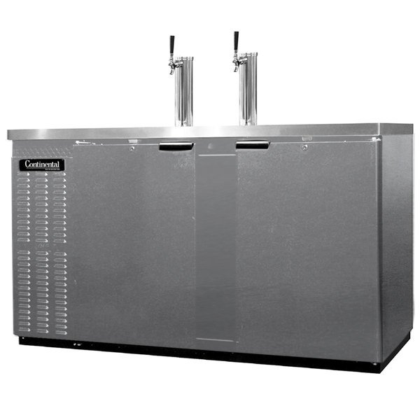Continental Refrigerator KC69S-SS Double Tap Kegerator Beer Dispenser, Shallow Depth - Stainless Steel, (3) 1/2 Keg Capacity