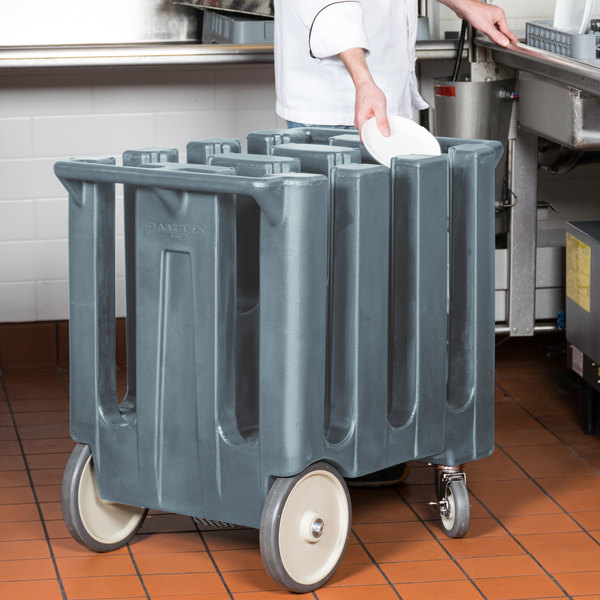 Cambro DC700401 Poker Chip Slate Blue Dish Dolly / Caddy with Vinyl Cover - 6 Column