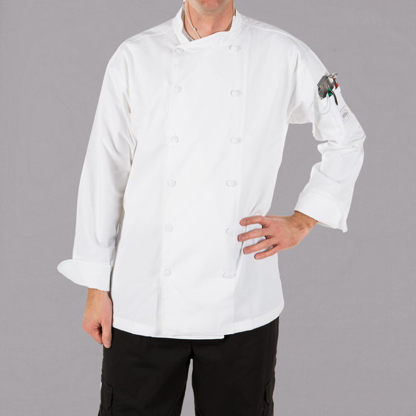 """Mercer Culinary M62010WHXS Renaissance Men's 32"""" XS Customizable White Double Breasted Scoop Neck Jacket"""