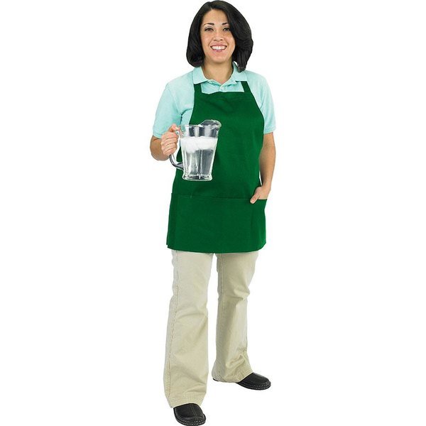 "Chef Revival 602BAFH-GN Customizable Professional Front of the House Kelly Green Bib Apron - 28""L x 25""W"