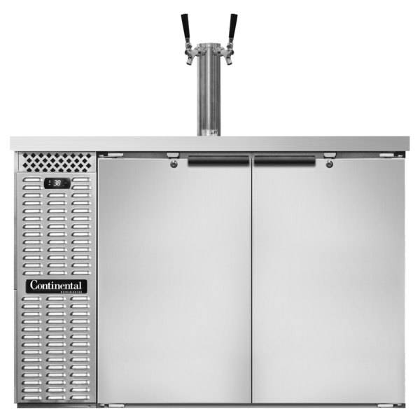 Continental Refrigerator KC50S-SS Double Tap Kegerator Beer Dispenser, Shallow Depth - Stainless Steel, (2) 1/2 Keg Capacity