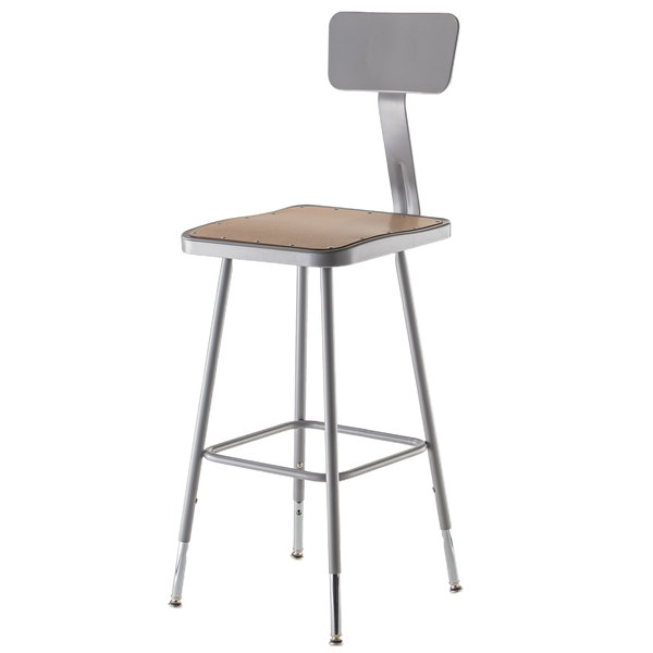 """National Public Seating 6324B 24"""" Gray Hardboard Square Lab Stool with Adjustable Back"""