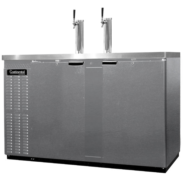 Continental Refrigerator KC59S-SS Double Tap Kegerator Beer Dispenser, Shallow Depth - Stainless Steel, (2) 1/2 Keg Capacity