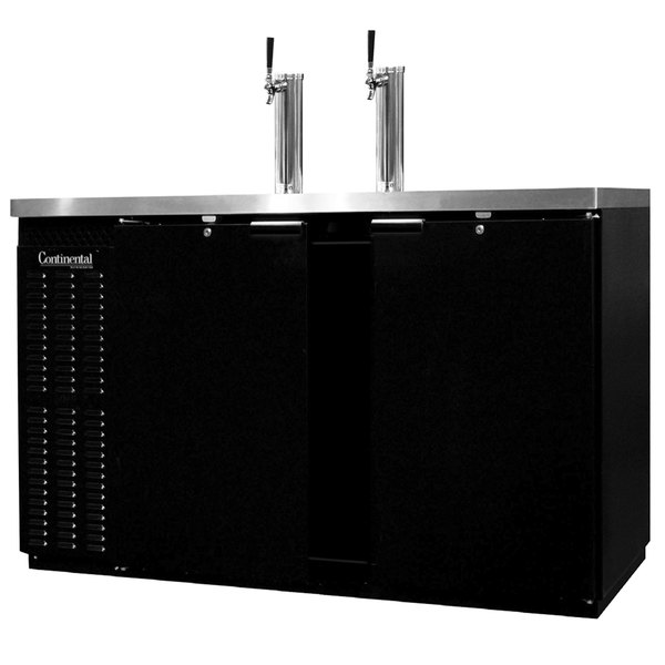 Continental Refrigerator KC59S Double Tap Kegerator Beer Dispenser, Shallow Depth - Black, (2) 1/2 Keg Capacity
