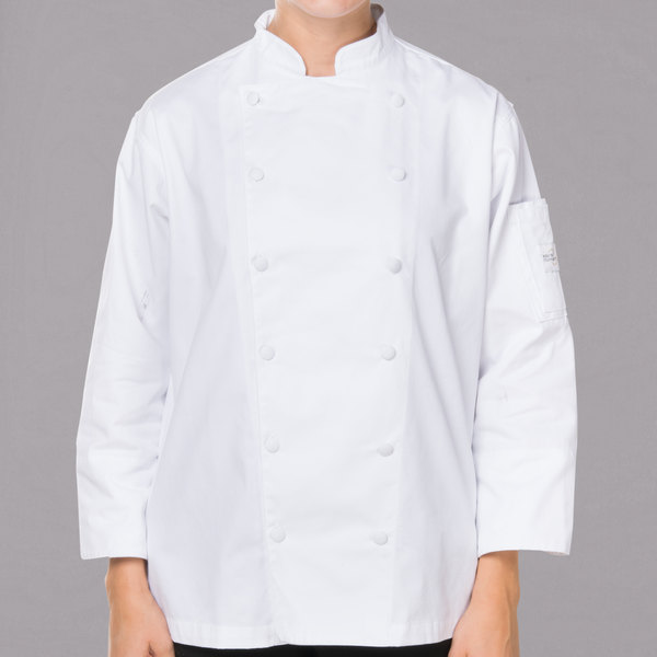 """Mercer Culinary M62060WH3X Renaissance Women's 49"""" XXXL Customizable White Double Breasted Traditional Neck Chef Jacket"""