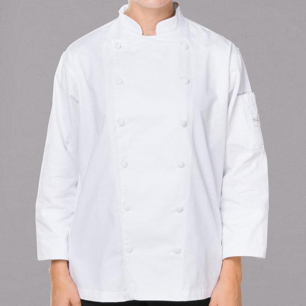 "Mercer Culinary M62060WHM Renaissance Women's 36"" M Customizable Traditional Neck Chef Jacket"