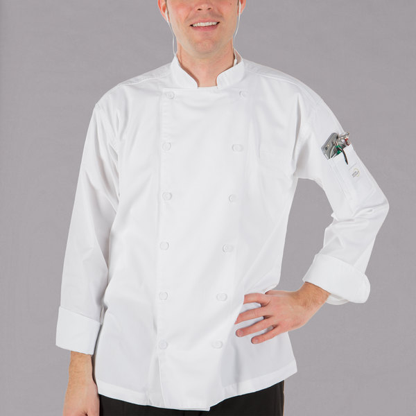 """Mercer Culinary M62030WHL Renaissance Men's 44"""" Large Customizable White Double Breasted Traditional Neck Chef Jacket"""