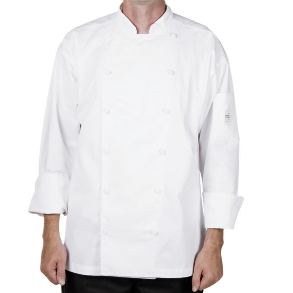 "Mercer Culinary M62030WHS Renaissance Men's 36"" Small Customizable White Double Breasted Traditional Neck Chef Jacket"