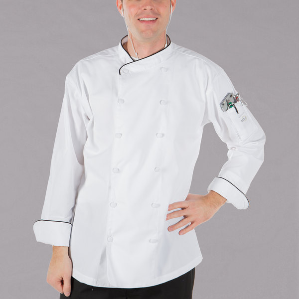 "Mercer Culinary M62020WBS Renaissance Men's 36"" Small Customizable White Double Breasted Scoop Neck Chef Jacket With Black Piping"