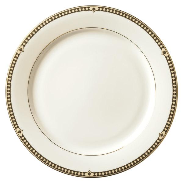 "Syracuse China 911191003 Baroque 6 1/2"" Bone China Dessert Plate - 36/Case"