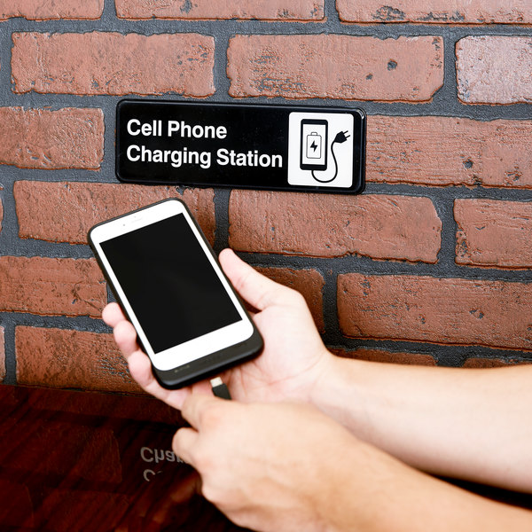 """Tablecraft 394565 Cell Phone Charging Station Sign - Black and White, 9"""" x 3"""""""