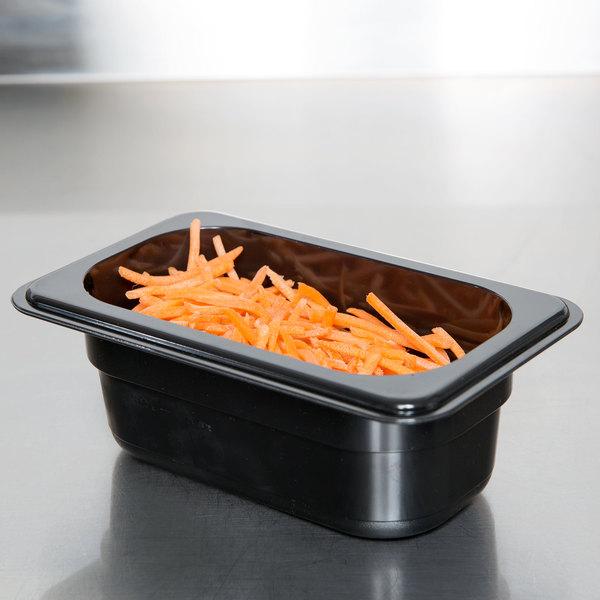 "1/9 Size Black Polycarbonate Food Pan - 2 1/2"" Deep"