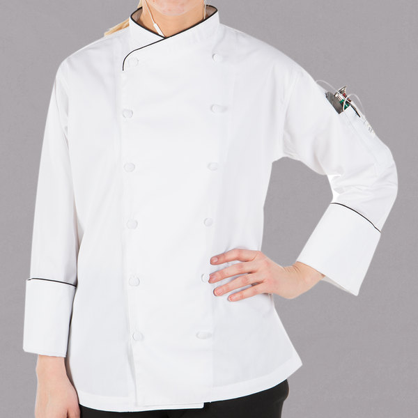 """Mercer Culinary Renaissance Women's 34"""" S Customizable White Double Breasted Scoop Neck Chef Jacket with Black Piping"""