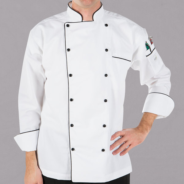 """Mercer Culinary M62090WB4X Renaissance Men's 60"""" XXXXL Customizable White Double Breasted Traditional Neck Chef Jacket with Full Black Piping"""