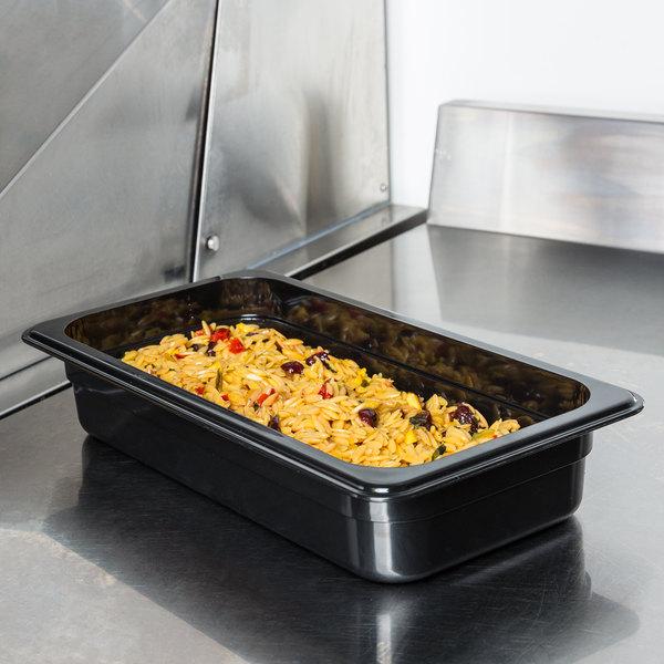 "1/3 Size Black Polycarbonate Food Pan - 2 1/2"" Deep"