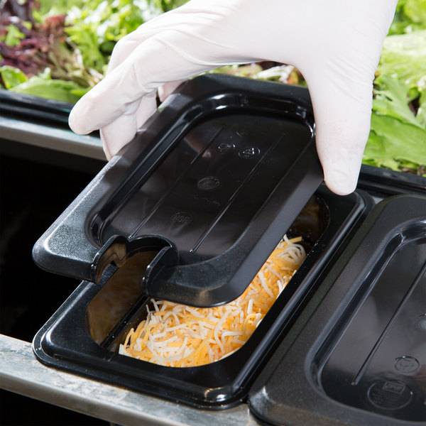 1/9 Size Black Polycarbonate Slotted Lid