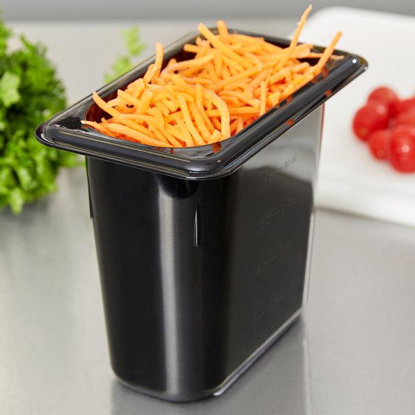 "Carlisle 3068803 StorPlus 1/9 Size Black Polycarbonate Food Pan - 6"" Deep Main Image 4"