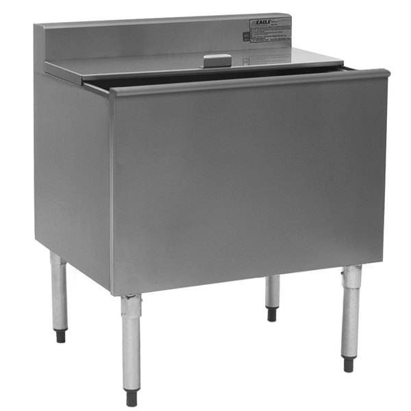 """Eagle Group B2IC-16D-22-7 16"""" Deep Insulated Underbar Ice Chest with 7 Circuit Post Mix Cold Plate - 24"""" x 24"""""""