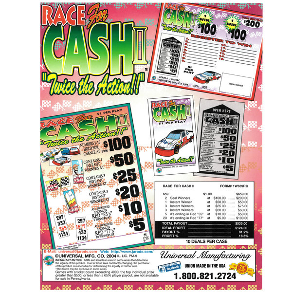 """Race for Cash II"" 1 Window Pull Tab Tickets - 659 Tickets Per Deal - Total Payout: $535"