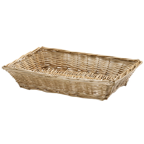 "Tablecraft 1692 18"" x 13"" x 3"" Natural Rectangular Willow Basket"