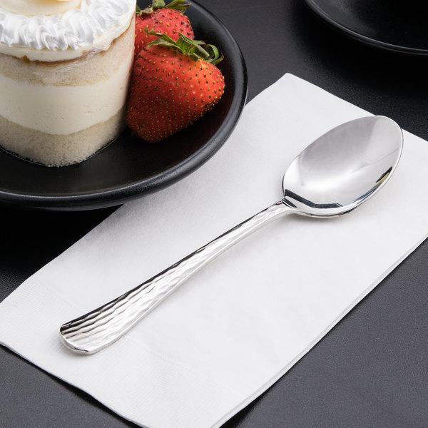 "World Tableware 994 002 Aspire 7 1/8"" 18/8 Stainless Steel Extra Heavy Weight Dessert Spoon - 36/Case"