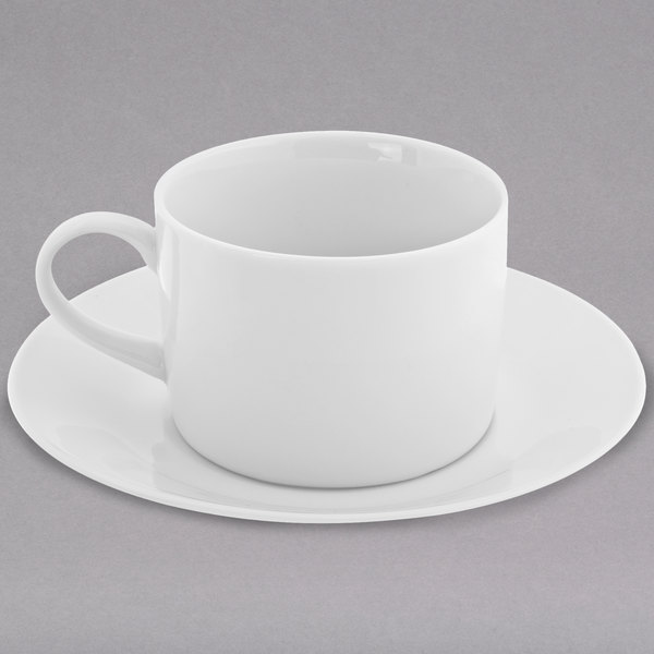 10 Strawberry Street RW0009 Royal White 8 oz. White Round Porcelain Handled Can Cup with Saucer - 24/Case