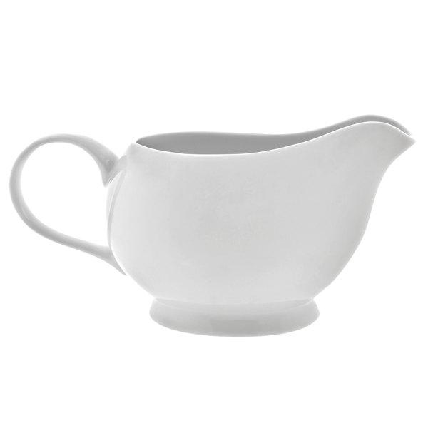 10 Strawberry Street RW0025 Royal White 16 oz. White Porcelain Gravy Boat - 12/Case