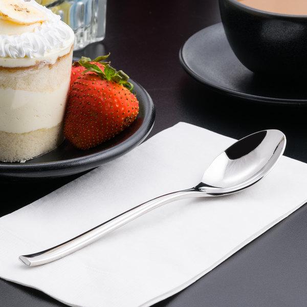 """World Tableware 930 002 Briossa 7 1/8"""" 18/8 Stainless Steel Extra Heavy Weight Dessert Spoon - 12/Case"""