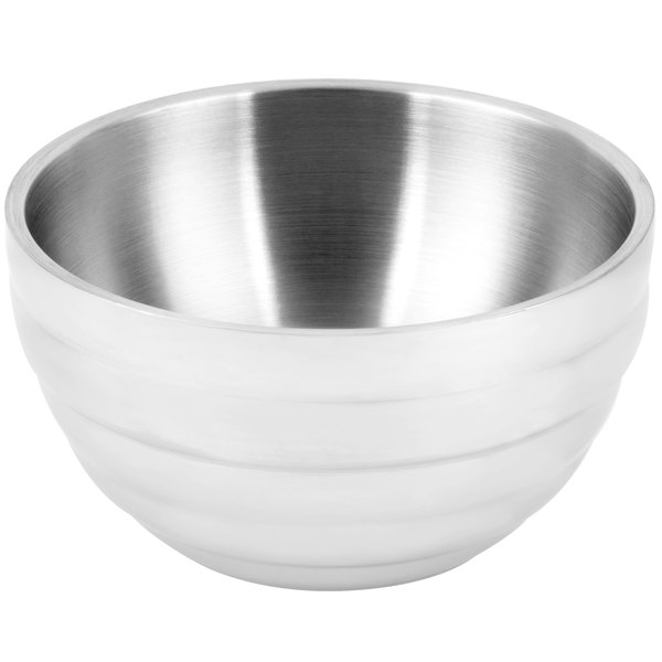 Vollrath 4658750 24 oz. Stainless Steel Double Wall Pearl White Round Beehive Serving Bowl