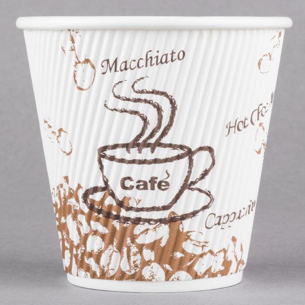 Choice 8 oz. Sleeveless Bean Print Paper Hot Cup - 25/Pack